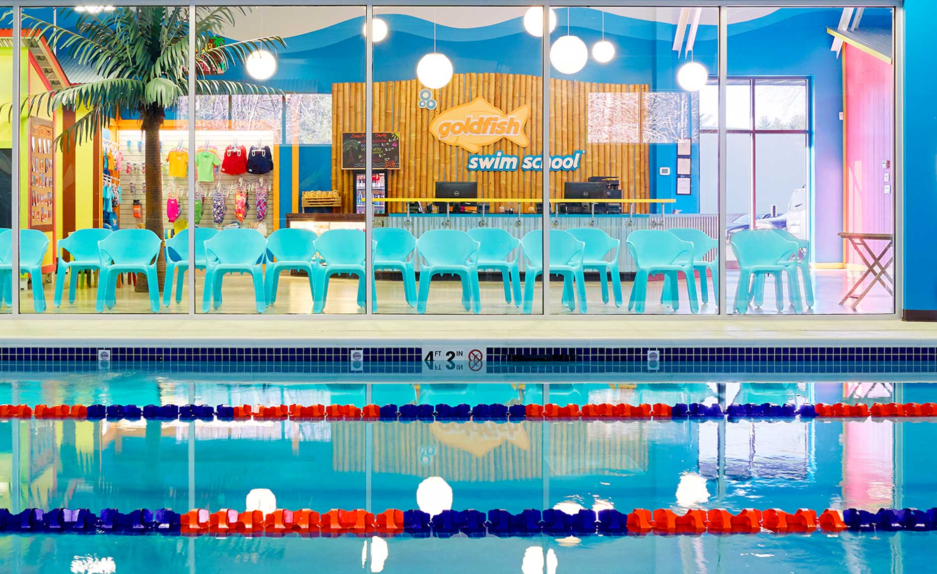 Swimming Pool at Swim School Against-Mural-Wall-Through-Viewing-Glass-19239_IP