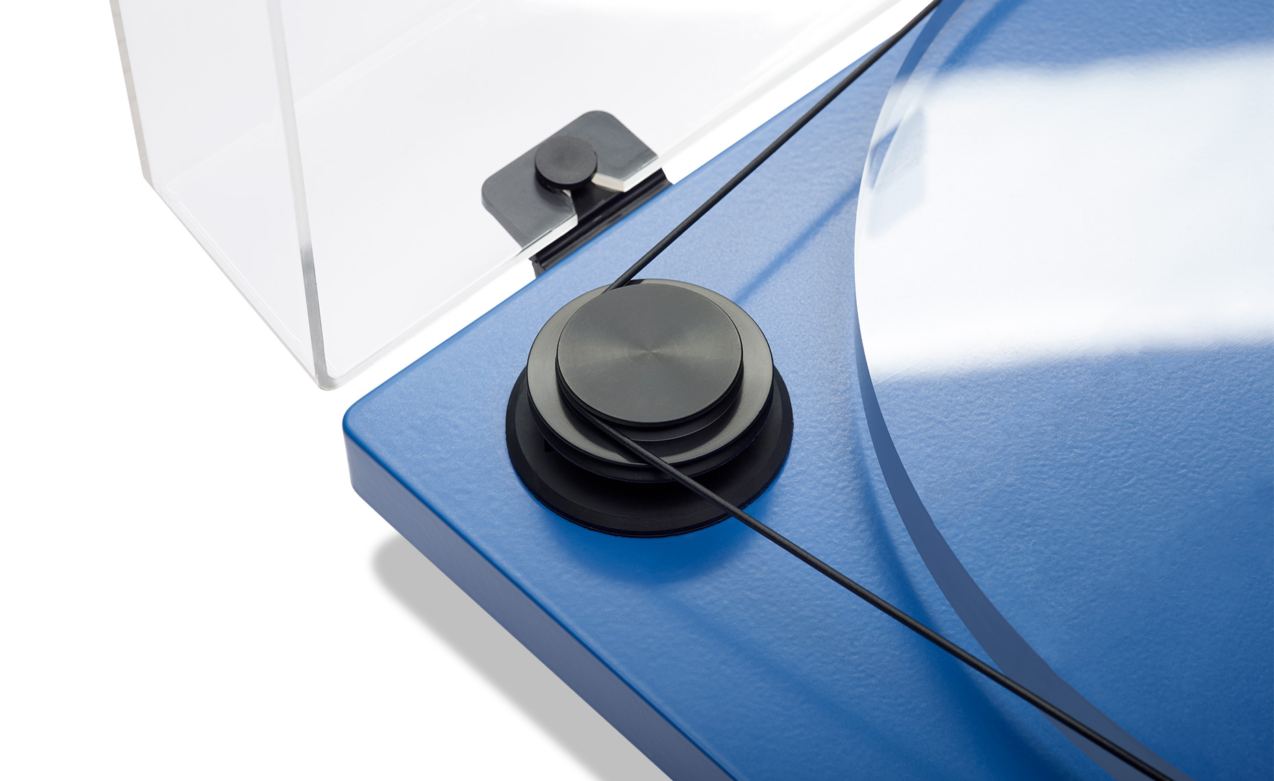 Close-up of Blue Audio Turntable Blue-Pulley-26664-F