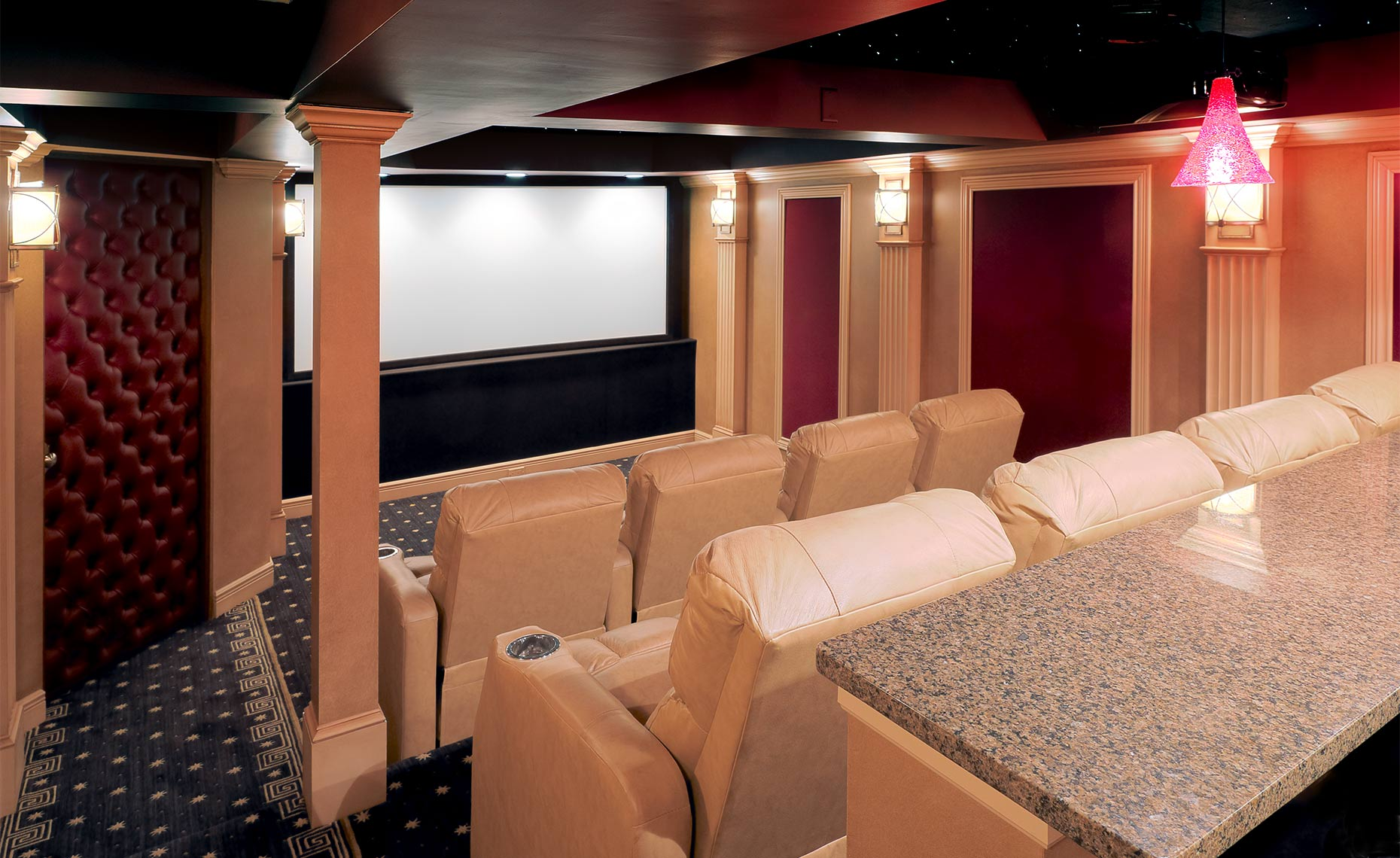 In Home Theater, Castle-Carriage-House-Theater-CF014352