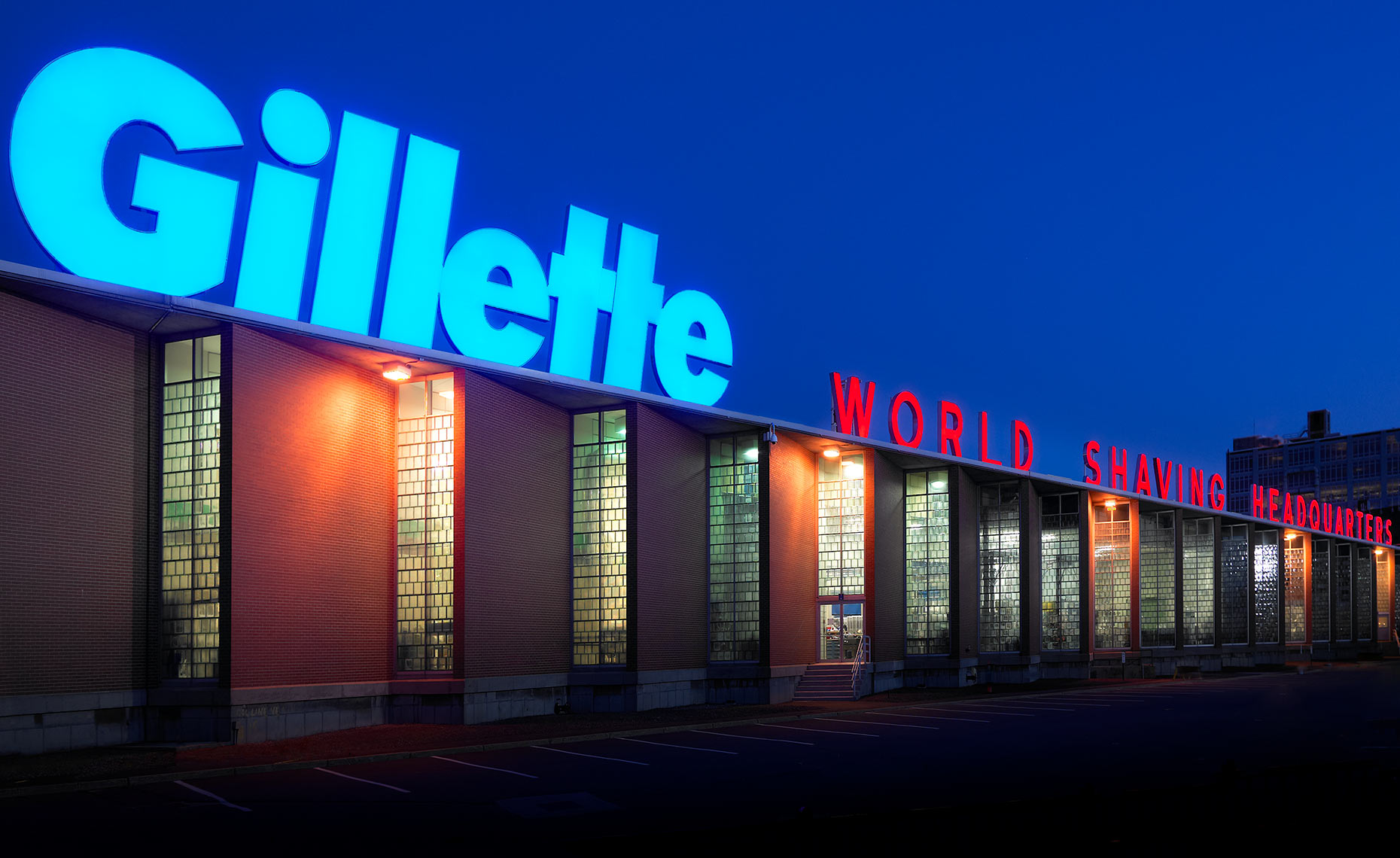 Architectural Exterior at Night of Gillette-sign-final-B